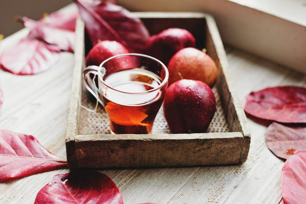 a tray of apple cider