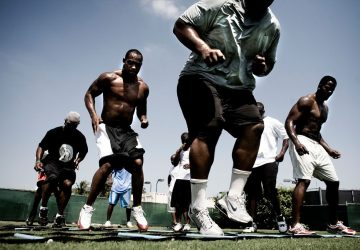 football players working out