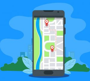 an illustrated map on a phone